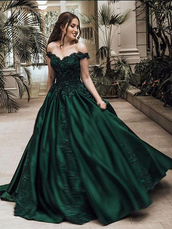 08673a138f Ball Gown Off-the-Shoulder Sleeveless Floor-Length Lace Satin Dresses