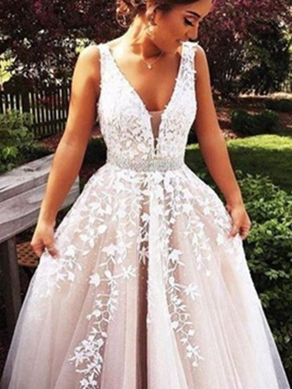 2d697a847645b A-Line/Princess V-Neck Sleeveless Applique Tulle Sweep/Brush Train Dresses