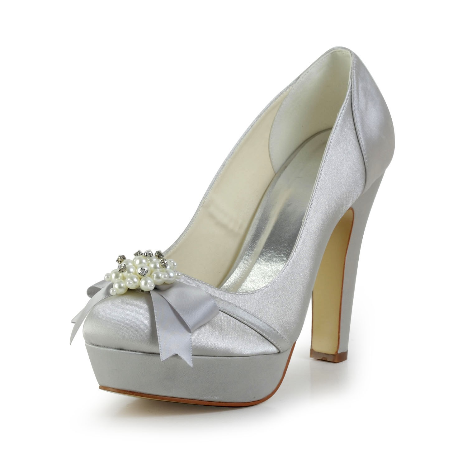 14f4f78df93a Women s Satin Chunky Heel Closed Toe Platform Silver Wedding Shoes ...