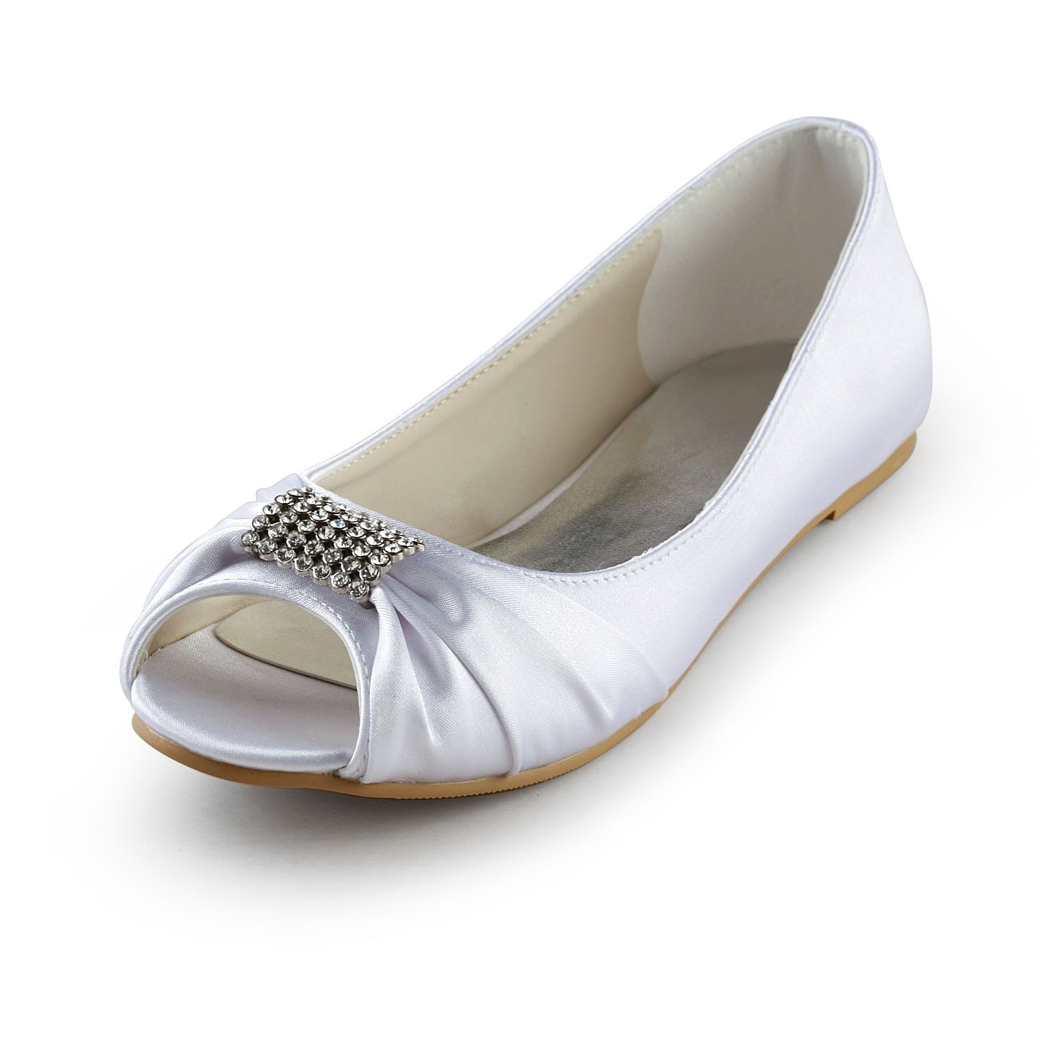 Women's Satin Flat Heel Peep Toe Sandals White Wedding