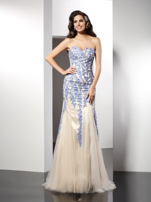 Trumpet/Mermaid Sweetheart Applique Sleeveless Long Tulle Dresses