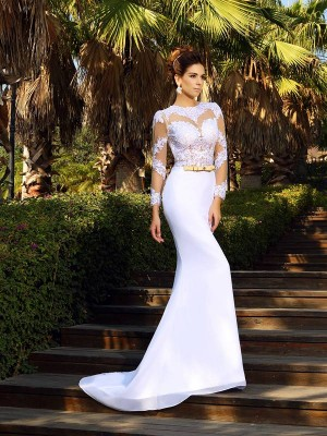 Sheath/Column Scoop Applique Long Sleeves Long Satin Wedding Dresses