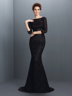 Trumpet/Mermaid Bateau Lace 3/4 Sleeves Long Elastic Woven Satin Mother of the Bride Dresses