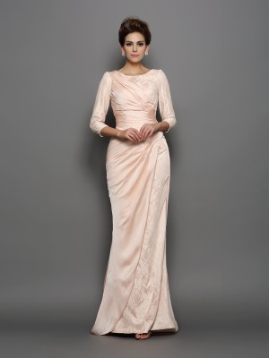 Trumpet/Mermaid Bateau Lace 3/4 Sleeves Long Chiffon Mother of the Bride Dresses