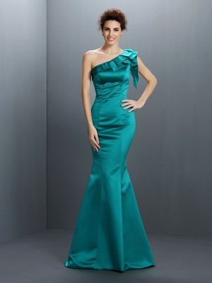Trumpet/Mermaid One-Shoulder Sleeveless Long Satin Dresses