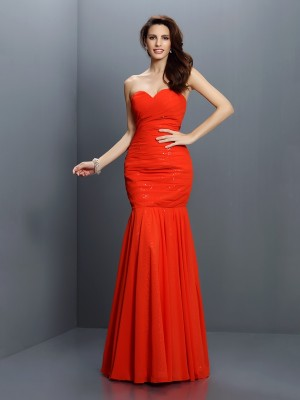 Trumpet/Mermaid Sweetheart Pleats Sleeveless Long Chiffon Bridesmaid Dresses