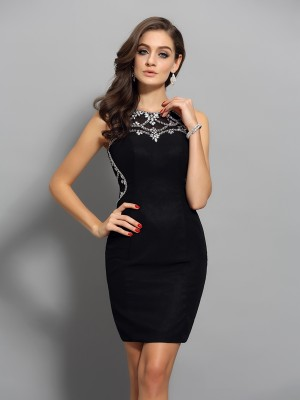 Sheath/Column Scoop Beading Sleeveless Short Chiffon Cocktail Dresses