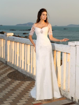 Sheath/Column Sweetheart Applique Short Sleeves Long Satin Beach Wedding Dresses