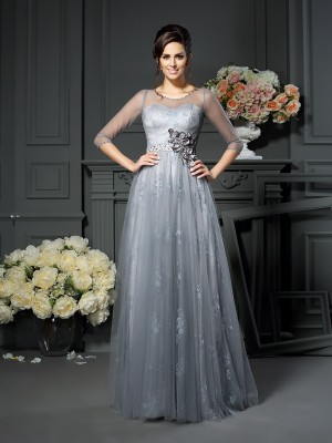 A-Line/Princess Scoop Lace 1/2 Sleeves Long Satin Mother of the Bride Dresses