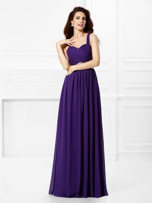 A-Line/Princess Sweetheart Beading Pleats Sleeveless Long Chiffon Dresses