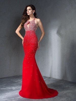 Trumpet/Mermaid Halter Beading Sleeveless Long Chiffon Dresses