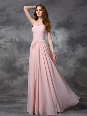 A-line/Princess Sweetheart Sleeveless Ruched Long Chiffon Bridesmaid Dresses