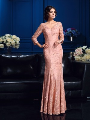 Sheath/Column V-neck Beading 3/4 Sleeves Long Lace Mother of the Bride Dresses