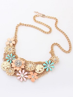 Korean version Sweet Fresh Flowers Metallic Hot Sale Necklace