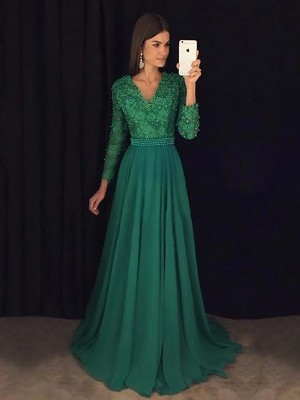 A-Line V-Neck Long Sleeves Sweep/Brush Train Lace Chiffon Dresses