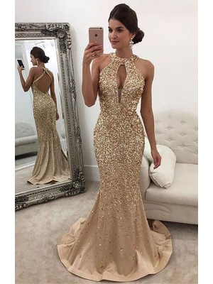 Mermaid Sleeveless Halter Sequin Sweep/Brush Train Satin Dresses