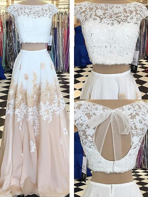A-Line Sleeveless Bateau Chiffon Lace Floor-Length Two Piece Dresses