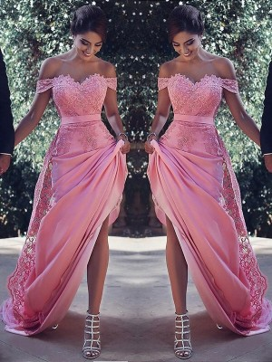 Sheath Off-the-Shoulder Sleeveless Sweep/Brush Train Lace Silk like Satin Dresses