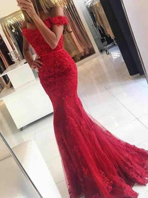Mermaid Sleeveless Off-the-Shoulder Sweep/Brush Train Tulle Applique Dresses