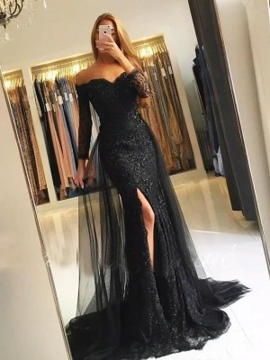 Mermaid Long Sleeves Off-the-Shoulder Sweep/Brush Train Tulle Lace Dresses