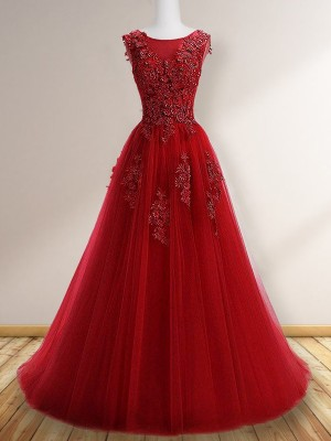 A-Line Scoop Sleeveless Sweep/Brush Train Applique Tulle Dresses