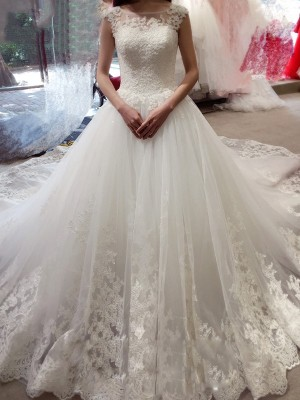 Ball Gown Sleeveless Bateau Applique Court Train Tulle Wedding Dresses