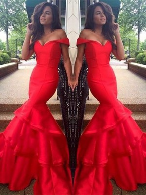 Mermaid Sleeveless Off-the-Shoulder Taffeta Layers Sweep/Brush Train Dresses