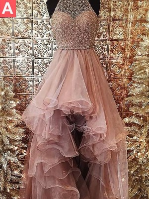 Ball Gown Halter Sleeveless Asymmetrical Sweep/Brush Train Tulle Dress