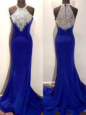 Mermaid Halter Sleeveless Sweep/Brush Train Beading Spandex Dresses