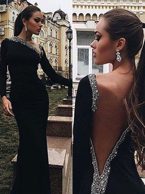Mermaid Long Sleeves One-Shoulder Spandex Floor-Length Dress