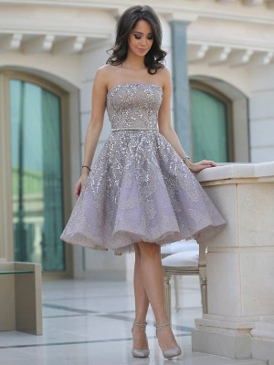 A-Line/Princess Strapless Sleeveless Sequin Knee-Length Lace Dresses