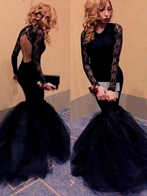 Trumpet/Mermaid Long Sleeves Scoop Lace Sweep/Brush Train Tulle Dresses