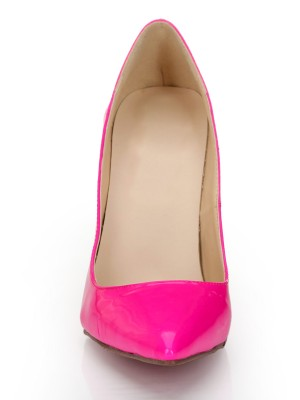 Women's Patent Leather Fuchsia Closed Toe Stiletto Heel High Heels