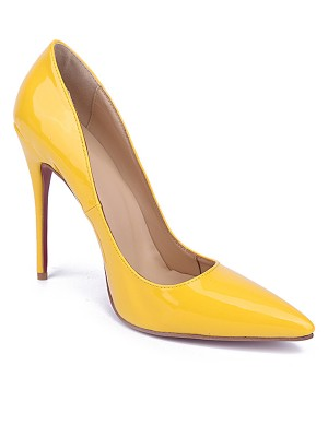 Women's Yellow Closed Toe Stiletto Heel Patent Leather High Heels