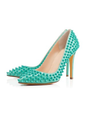 Women's Patent Leather Closed Toe Stiletto Heel With Rivet High Heels