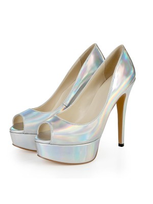 Women's Patent Leather Peep Toe Platform Stiletto Heel Silver Wedding Shoes