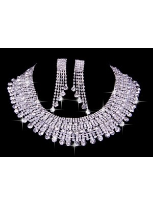 Very Elegant Czech Rhinestones Wedding Necklaces Earrings Set