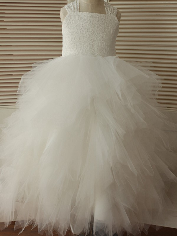 A-Line/Princess Ankle-Length Straps Lace Tulle Flower Girl Dresses