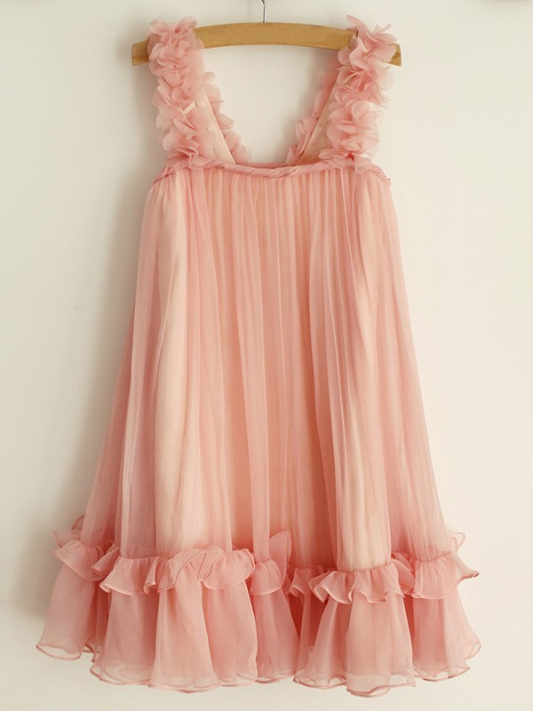 A-Line/Princess Straps Ruffles Chiffon Knee-Length Flower Girl Dresses