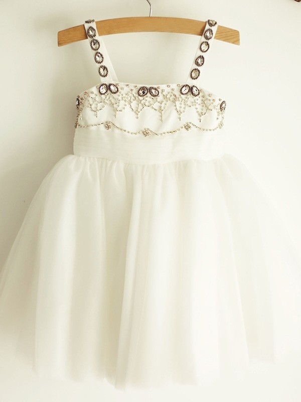 A-Line/Princess Straps Beading Tulle Knee-Length Flower Girl Dresses