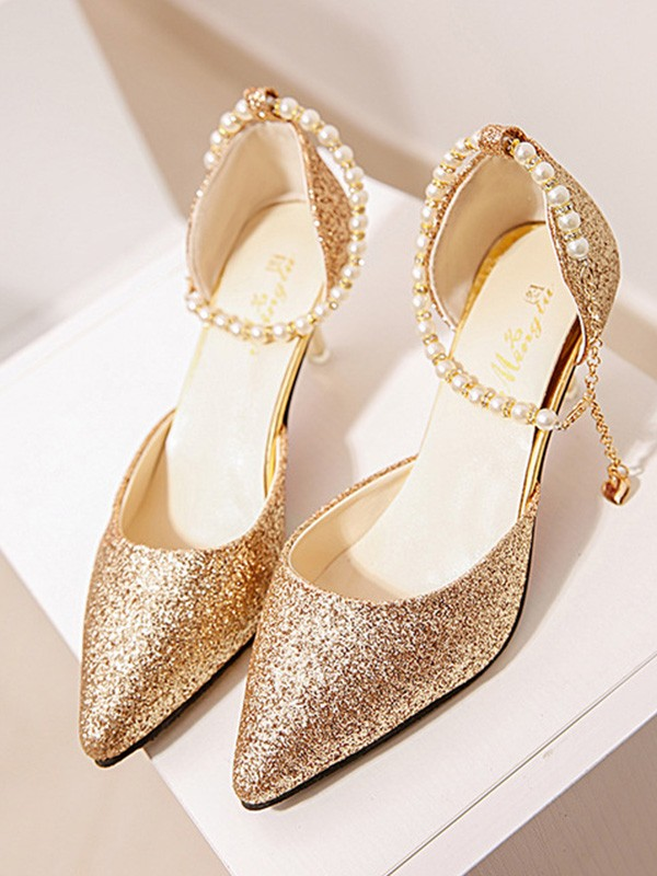 Pearl Stiletto Heel Closed Toe High Heels