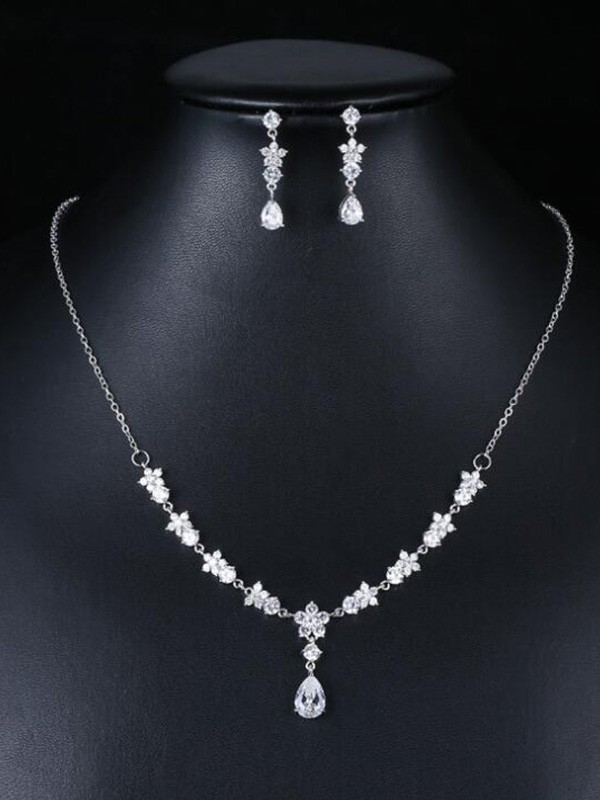 Occident Zircon Wedding Bridal Jewelry Set
