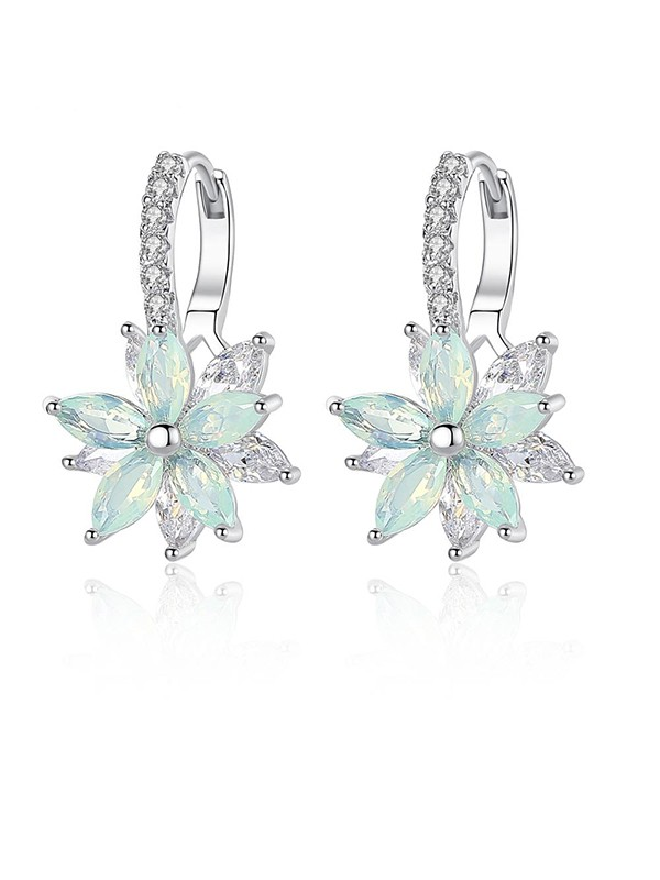 Fashion Crystal With Flowers Earrings
