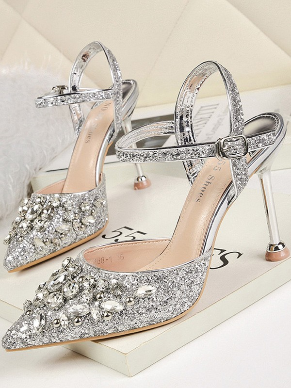 Rhinestone Stiletto Heel Closed Toe Sandals