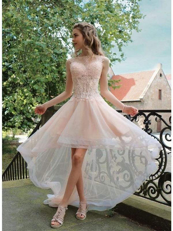 A-Line/Princess Organza Applique Sheer Neck Asymmetrical Dresses
