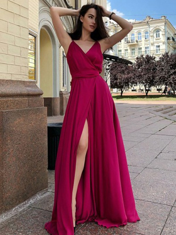 A-Line Satin Chiffon Spaghetti Straps Ruffles Sweep/Brush Train Dresses