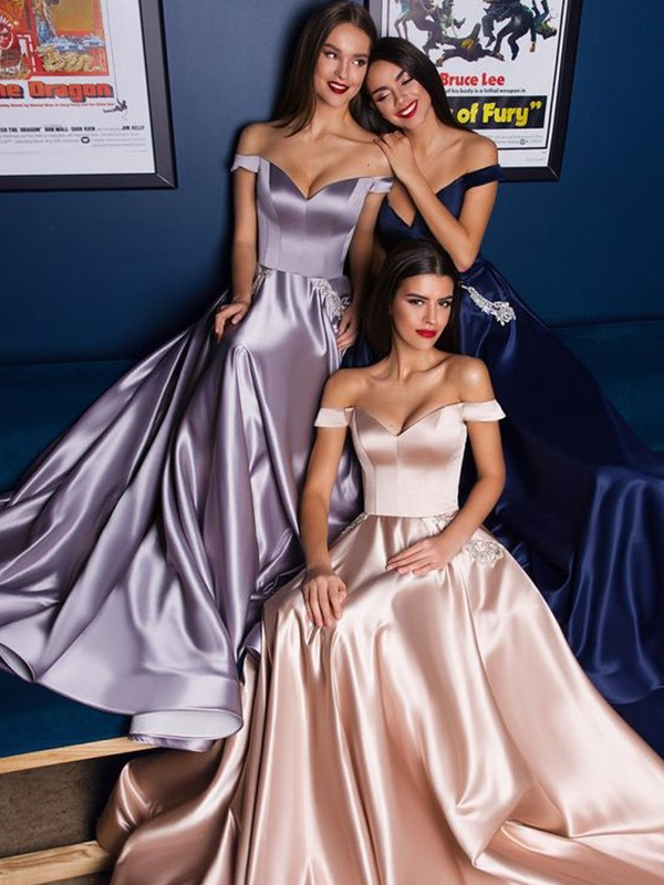 A-Line Satin Off-the-Shoulder Ruffles Sweep/Brush Train Dresses