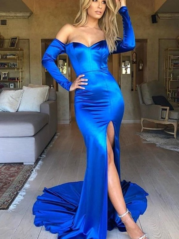 Mermaid Ruched Satin V-neck Long Sleeves Court Train Dresses