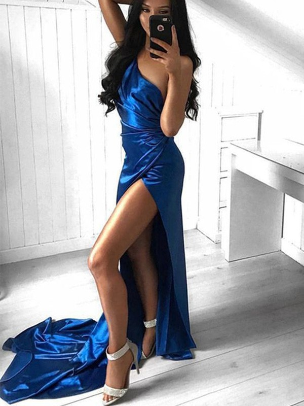 Sheath Ruched One-Shoulder Court Train Satin Dresses