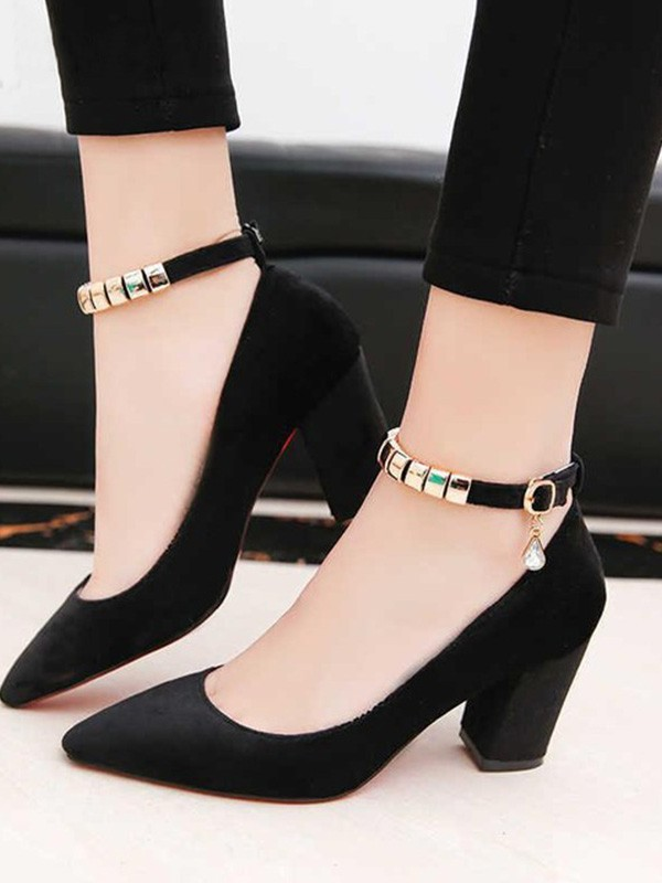PU Chunky Heel Closed Toe Sandals